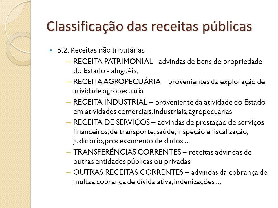 Classificação das receitas públicas 5.2. Receitas não tributárias – RECEITA PATRIMONIAL –advindas de bens de propriedade do Estado - aluguéis, – RECEI