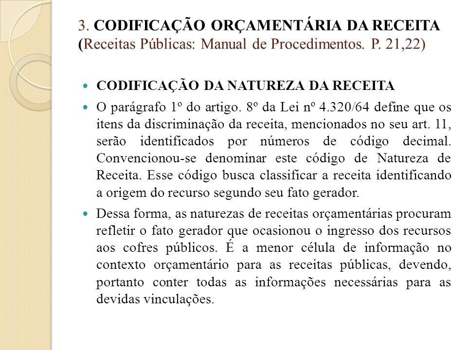 3. CODIFICAÇÃO ORÇAMENTÁRIA DA RECEITA (Receitas Públicas: Manual de Procedimentos. P. 21,22) CODIFICAÇÃO DA NATUREZA DA RECEITA O parágrafo 1º do art