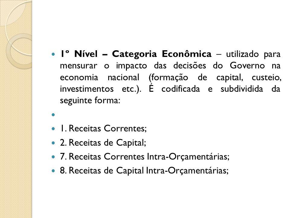 1º Nível – Categoria Econômica – utilizado para mensurar o impacto das decisões do Governo na economia nacional (formação de capital, custeio, investi