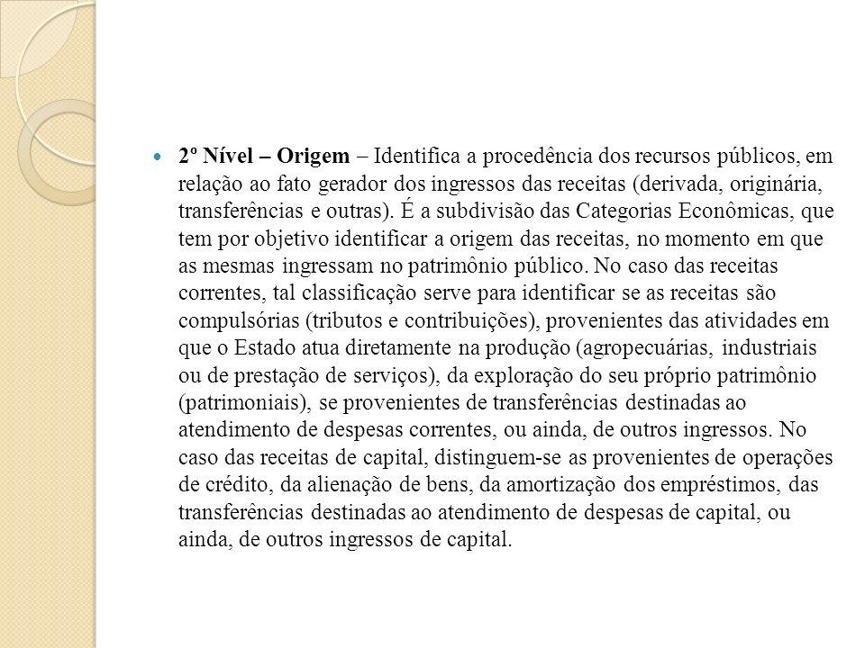 2º Nível – Origem – Identifica a procedência dos recursos públicos, em relação ao fato gerador dos ingressos das receitas (derivada, originária, trans