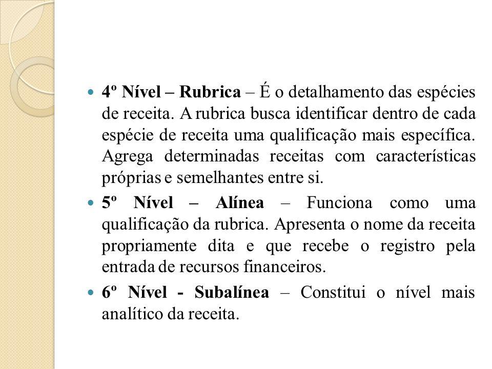 4º Nível – Rubrica – É o detalhamento das espécies de receita. A rubrica busca identificar dentro de cada espécie de receita uma qualificação mais esp