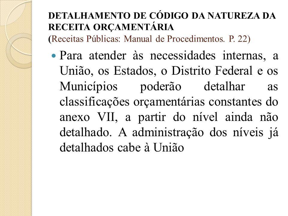 DETALHAMENTO DE CÓDIGO DA NATUREZA DA RECEITA ORÇAMENTÁRIA (Receitas Públicas: Manual de Procedimentos. P. 22) Para atender às necessidades internas,