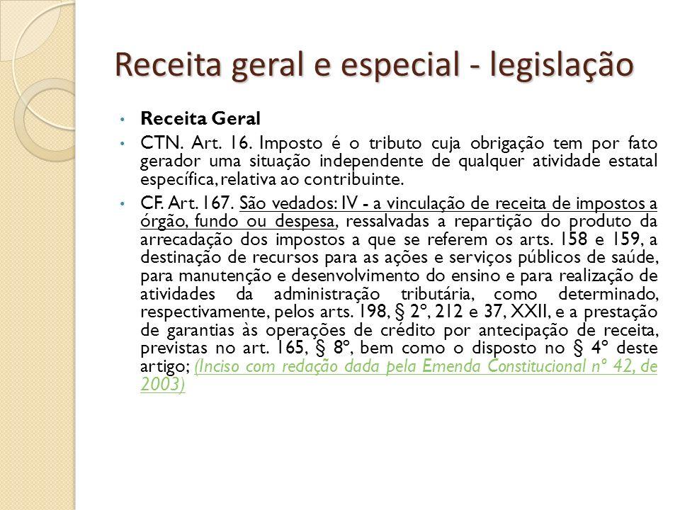 Receita geral e especial - legislação Receita Geral CTN. Art. 16. Imposto é o tributo cuja obrigação tem por fato gerador uma situação independente de