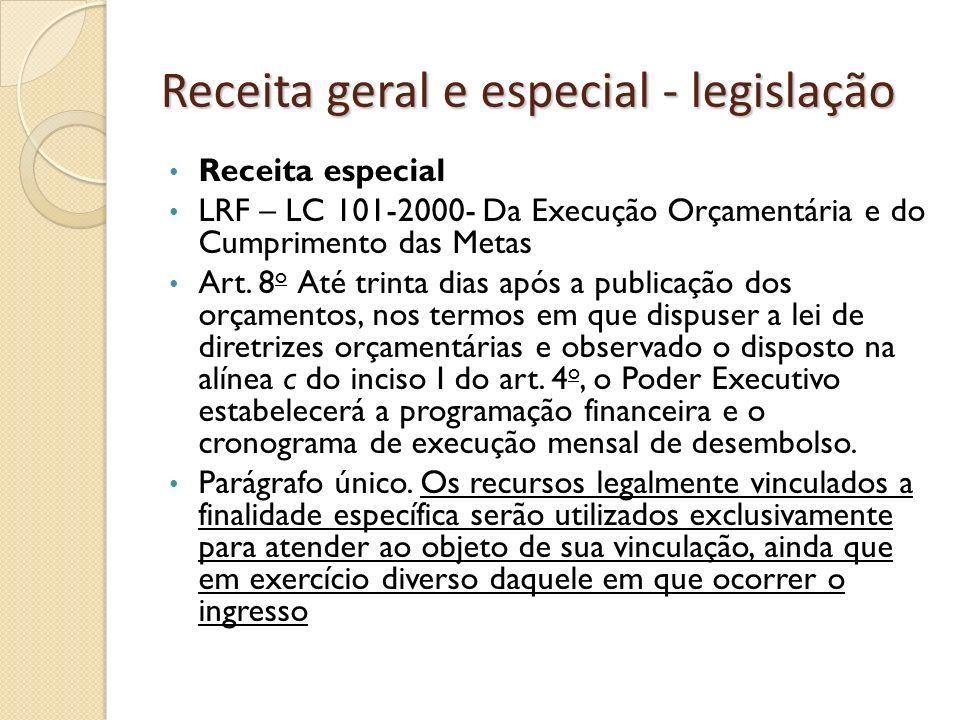 Receita geral e especial - legislação Receita especial LRF – LC 101-2000- Da Execução Orçamentária e do Cumprimento das Metas Art. 8 o Até trinta dias