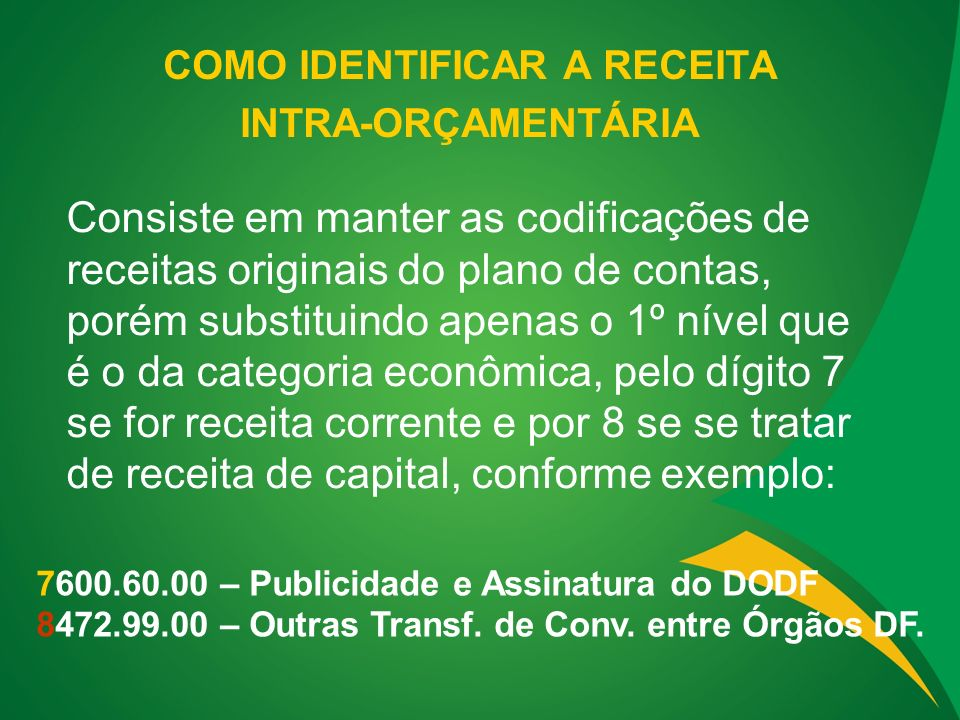 COMO IDENTIFICAR A RECEITA INTRA-ORÇAMENTÁRIA 7600.60.00 – Publicidade e Assinatura do DODF 8472.99.00 – Outras Transf.
