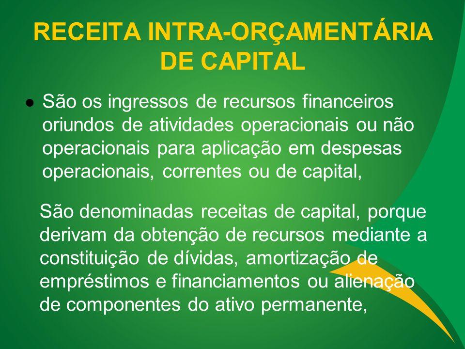 RECEITA INTRA-ORÇAMENTÁRIA DE CAPITAL São os ingressos de recursos financeiros oriundos de atividades operacionais ou não operacionais para aplicação