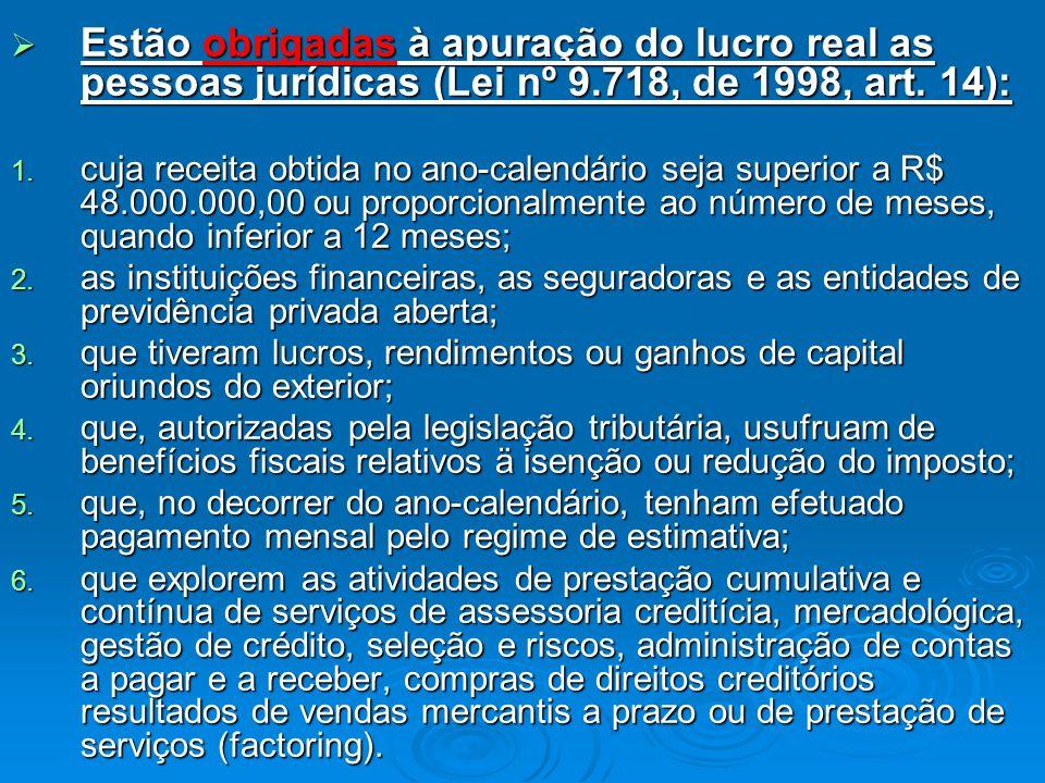 Estão obrigadas à apuração do lucro real as pessoas jurídicas (Lei nº 9.718, de 1998, art.