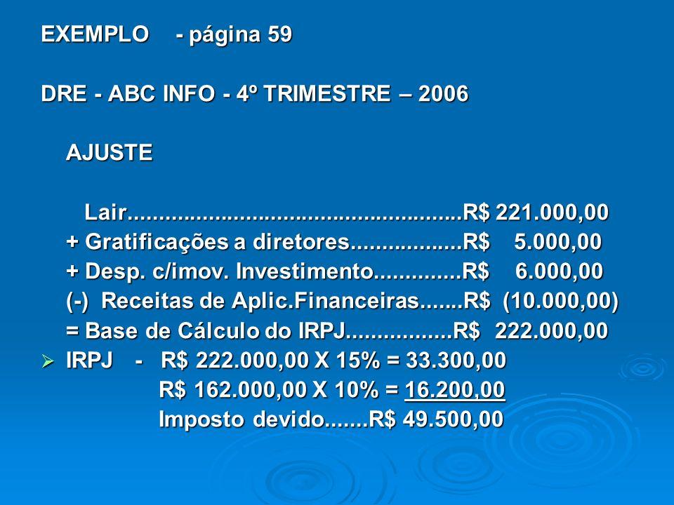 EXEMPLO - página 59 DRE - ABC INFO - 4º TRIMESTRE – 2006 AJUSTE Lair......................................................R$ 221.000,00 Lair......................................................R$ 221.000,00 + Gratificações a diretores..................R$ 5.000,00 + Desp.