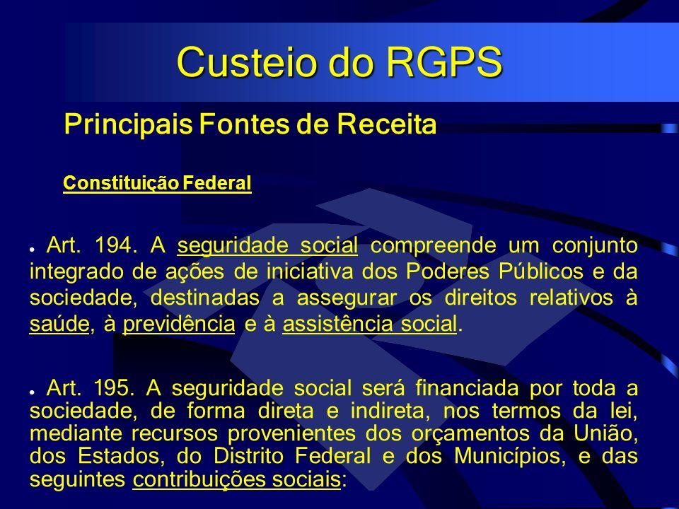 Custeio do RGPS Principais Fontes de Receita Constituição Federal Art. 194. A seguridade social compreende um conjunto integrado de ações de iniciativ