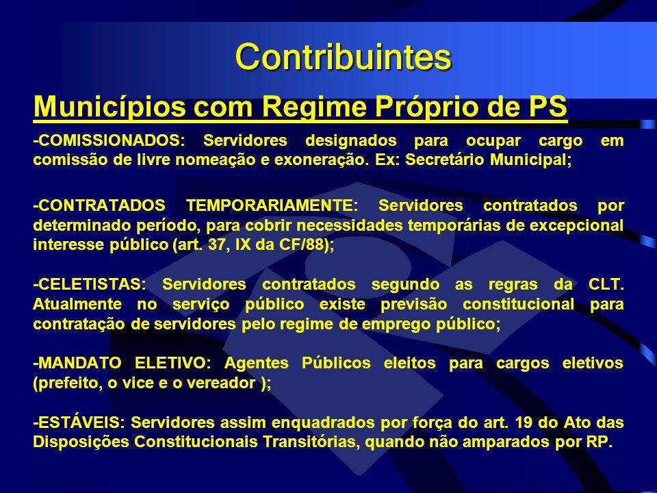 Contribuintes Municípios com Regime Próprio de PS -COMISSIONADOS: Servidores designados para ocupar cargo em comissão de livre nomeação e exoneração.