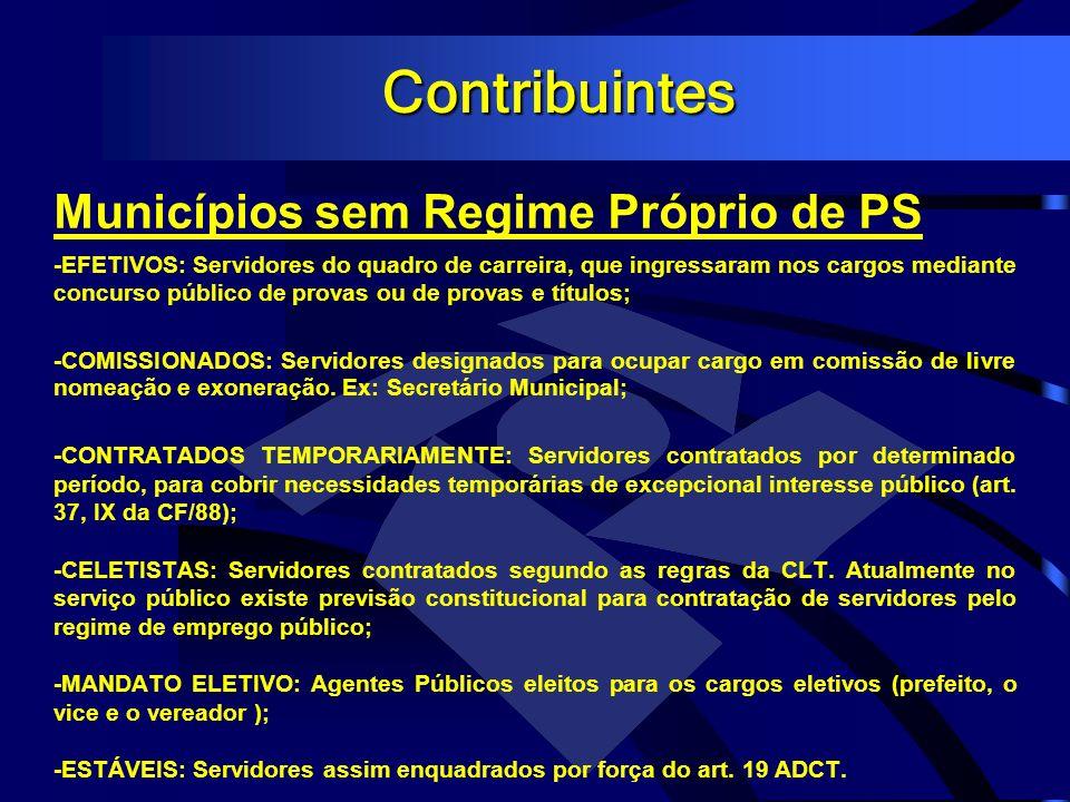 Contribuintes Municípios sem Regime Próprio de PS -EFETIVOS: Servidores do quadro de carreira, que ingressaram nos cargos mediante concurso público de