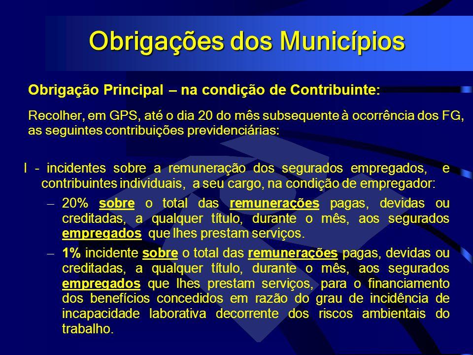 Obrigações dos Municípios Recolher, em GPS, até o dia 20 do mês subsequente à ocorrência dos FG, as seguintes contribuições previdenciárias: Obrigação