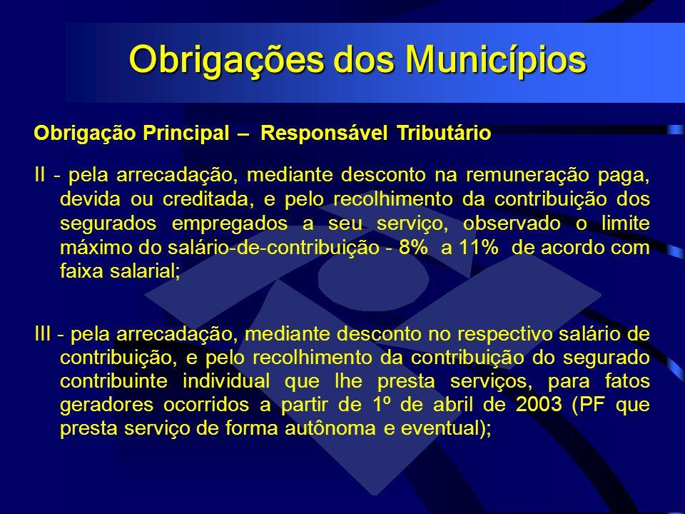 Obrigações dos Municípios Obrigação Principal – Responsável Tributário II - pela arrecadação, mediante desconto na remuneração paga, devida ou credita