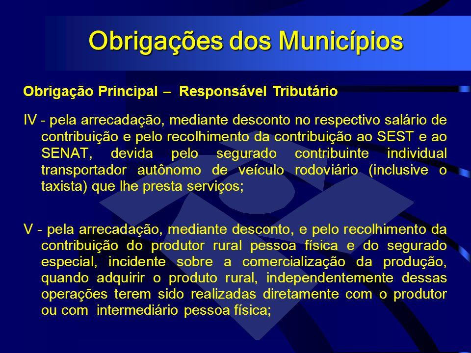Obrigações dos Municípios Obrigação Principal – Responsável Tributário IV - pela arrecadação, mediante desconto no respectivo salário de contribuição