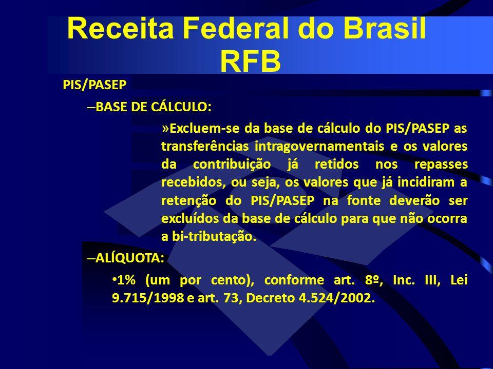PIS/PASEP – BASE DE CÁLCULO: » Excluem-se da base de cálculo do PIS/PASEP as transferências intragovernamentais e os valores da contribuição já retido
