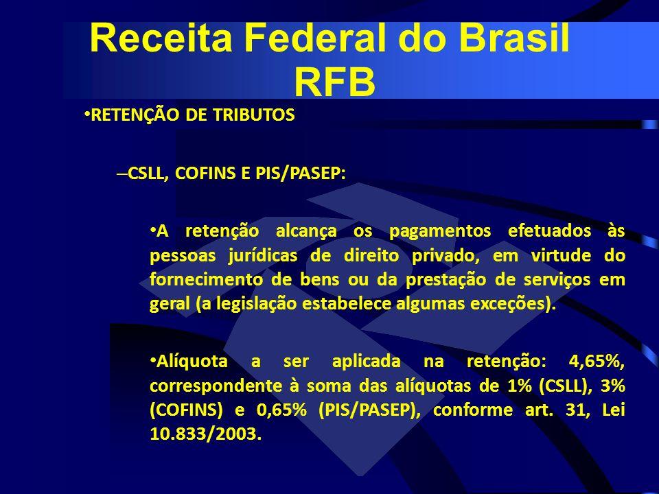 RETENÇÃO DE TRIBUTOS – CSLL, COFINS E PIS/PASEP: A retenção alcança os pagamentos efetuados às pessoas jurídicas de direito privado, em virtude do for