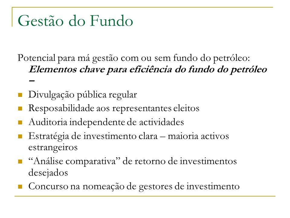 Gestão do Fundo Potencial para má gestão com ou sem fundo do petróleo: Elementos chave para eficiência do fundo do petróleo – Divulgação pública regul