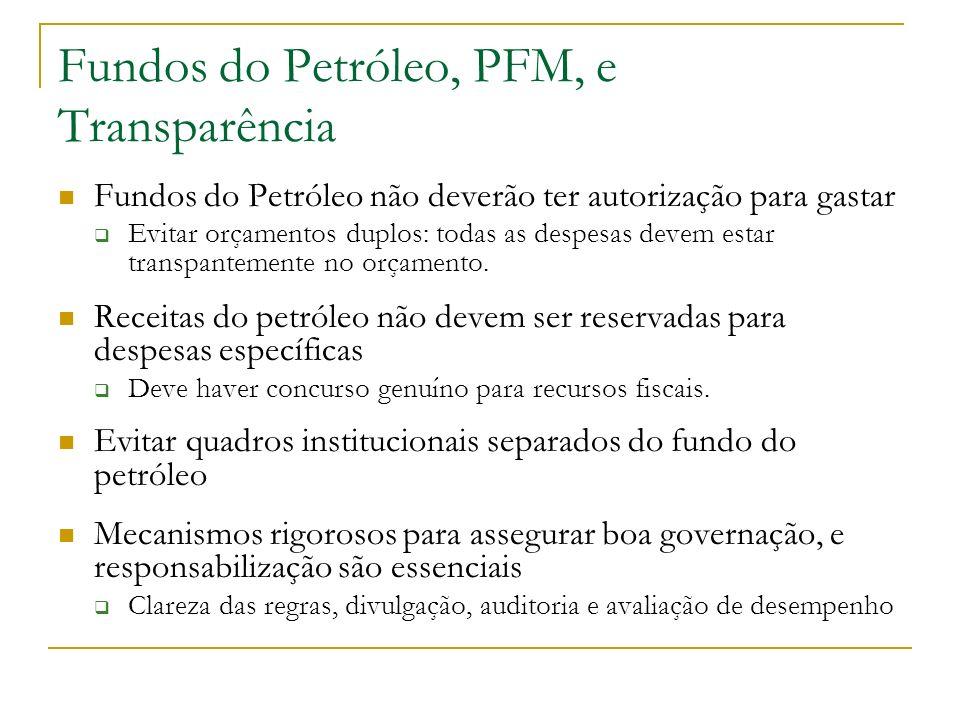 Fundos do Petróleo, PFM, e Transparência Fundos do Petróleo não deverão ter autorização para gastar Evitar orçamentos duplos: todas as despesas devem