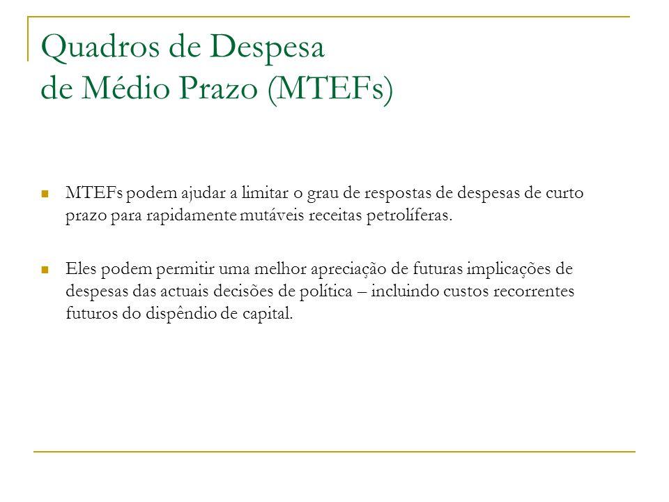 Quadros de Despesa de Médio Prazo (MTEFs) MTEFs podem ajudar a limitar o grau de respostas de despesas de curto prazo para rapidamente mutáveis receit