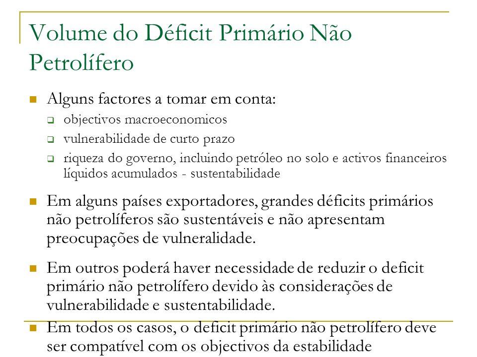Volume do Déficit Primário Não Petrolífero Alguns factores a tomar em conta: objectivos macroeconomicos vulnerabilidade de curto prazo riqueza do gove