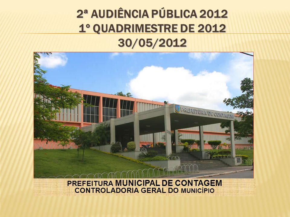 PREFEITURA MUNICIPAL DE CONTAGEM CONTROLADORIA GERAL DO MUNICÍPIO 2ª AUDIÊNCIA PÚBLICA 2012 1º QUADRIMESTRE DE 2012 30/05/2012