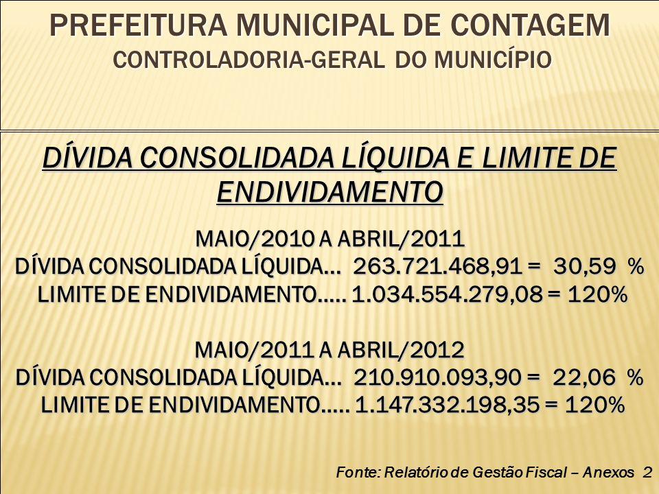 PREFEITURA MUNICIPAL DE CONTAGEM CONTROLADORIA-GERAL DO MUNICÍPIO DÍVIDA CONSOLIDADA LÍQUIDA E LIMITE DE ENDIVIDAMENTO MAIO/2010 A ABRIL/2011 DÍVIDA CONSOLIDADA LÍQUIDA...