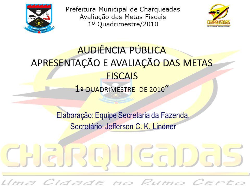 AUDIÊNCIA PÚBLICA APRESENTAÇÃO E AVALIAÇÃO DAS METAS FISCAIS 1 º QUADRIMESTRE DE 2010 Elaboração: Equipe Secretaria da Fazenda.