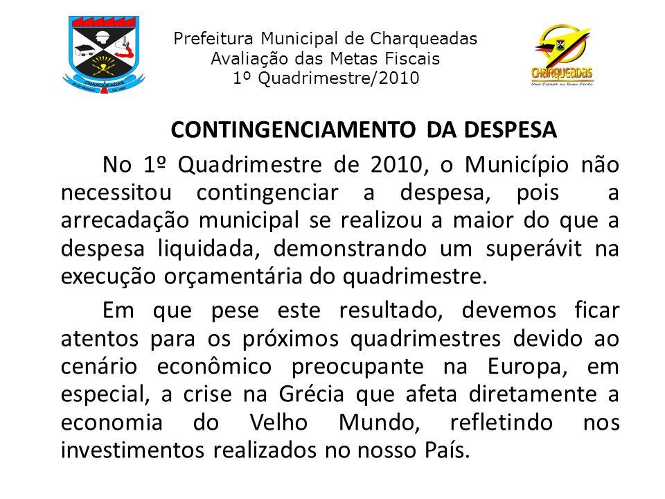 CONTINGENCIAMENTO DA DESPESA No 1º Quadrimestre de 2010, o Município não necessitou contingenciar a despesa, pois a arrecadação municipal se realizou a maior do que a despesa liquidada, demonstrando um superávit na execução orçamentária do quadrimestre.