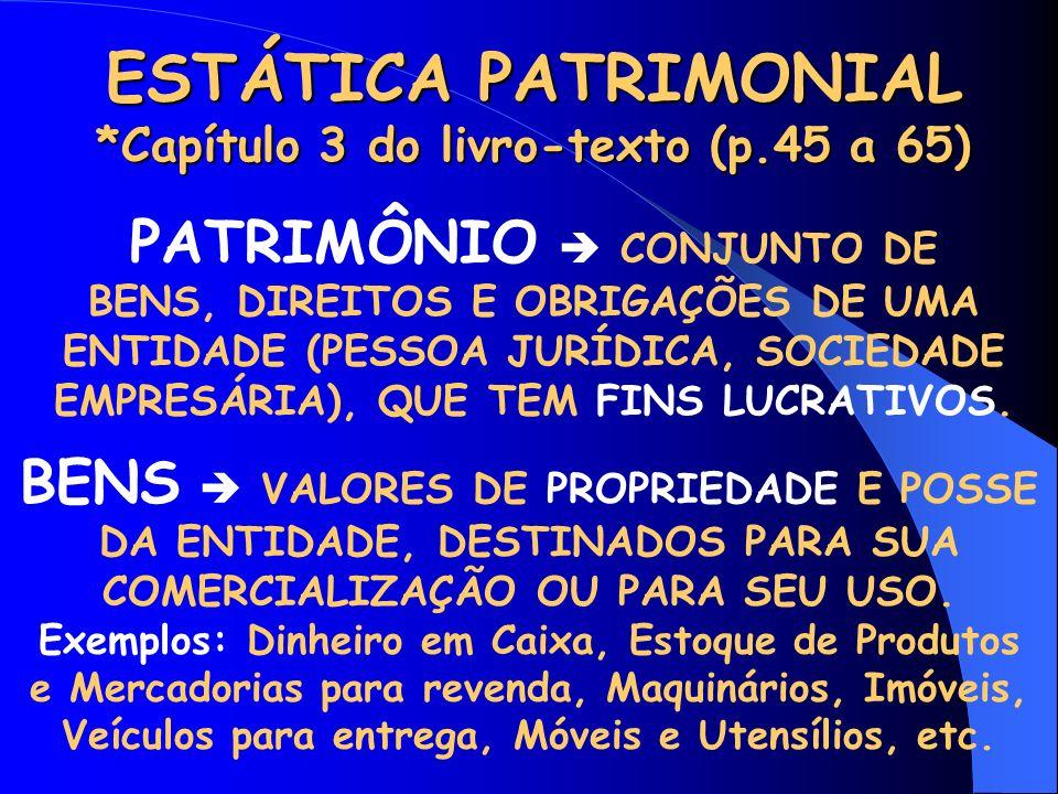 ESTÁTICA PATRIMONIAL *Capítulo 3 do livro-texto (p.45 a 65) PATRIMÔNIO CONJUNTO DE BENS, DIREITOS E OBRIGAÇÕES DE UMA ENTIDADE (PESSOA JURÍDICA, SOCIEDADE EMPRESÁRIA), QUE TEM FINS LUCRATIVOS.