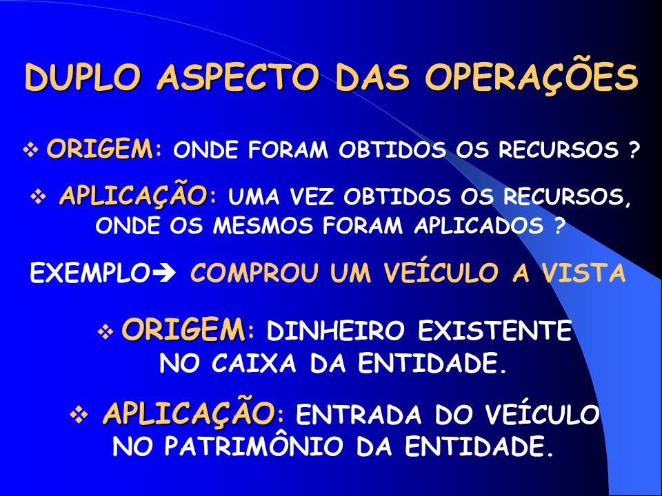 DUPLO ASPECTO DAS OPERAÇÕES ORIGEM ORIGEM : ONDE FORAM OBTIDOS OS RECURSOS .