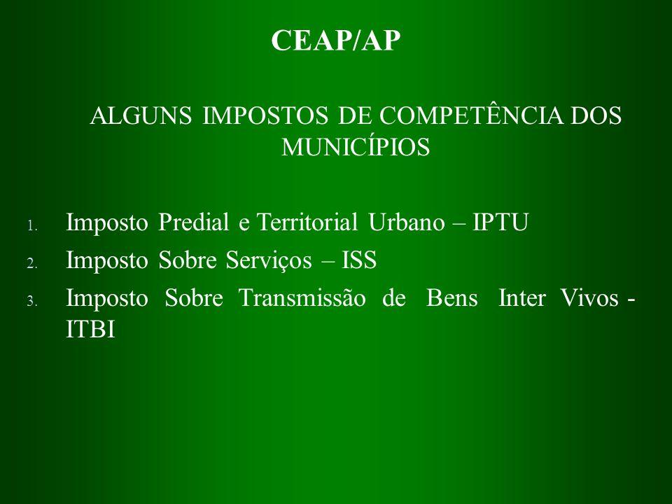 CEAP/AP ALGUNS IMPOSTOS DE COMPETÊNCIA DOS MUNICÍPIOS 1. Imposto Predial e Territorial Urbano – IPTU 2. Imposto Sobre Serviços – ISS 3. Imposto Sobre