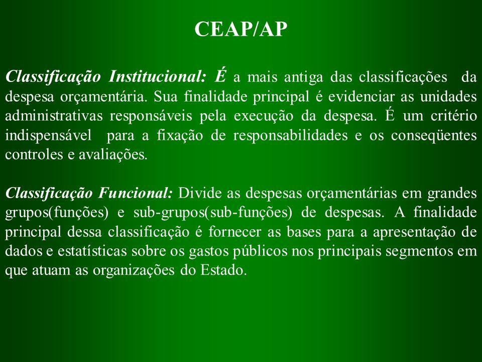 CEAP/AP Classificação Institucional: É a mais antiga das classificações da despesa orçamentária. Sua finalidade principal é evidenciar as unidades adm
