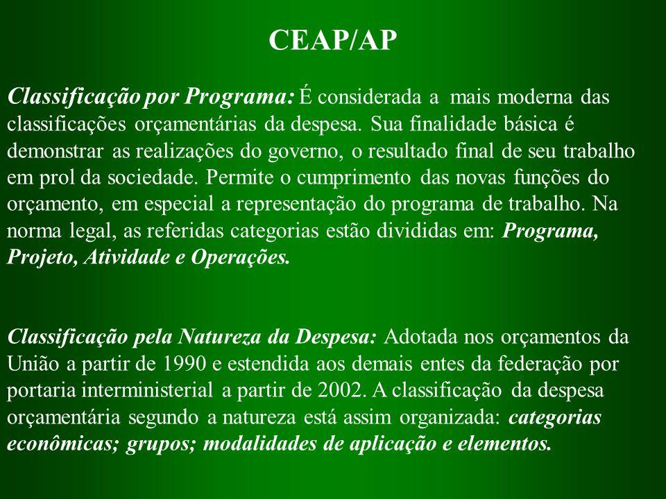 CEAP/AP Classificação por Programa: É considerada a mais moderna das classificações orçamentárias da despesa. Sua finalidade básica é demonstrar as re