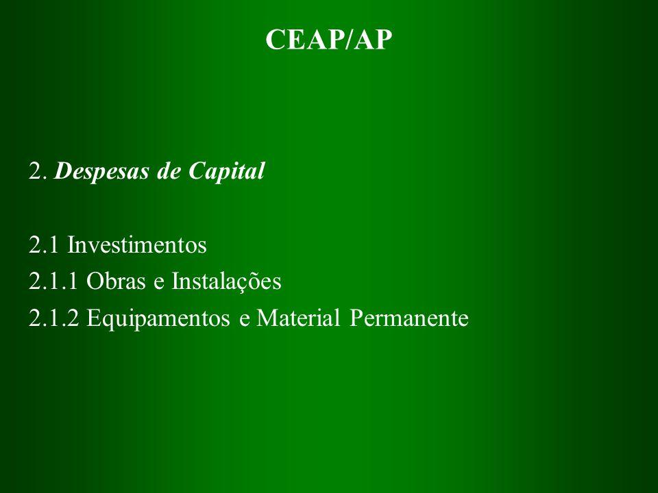 CEAP/AP 2. Despesas de Capital 2.1 Investimentos 2.1.1 Obras e Instalações 2.1.2 Equipamentos e Material Permanente