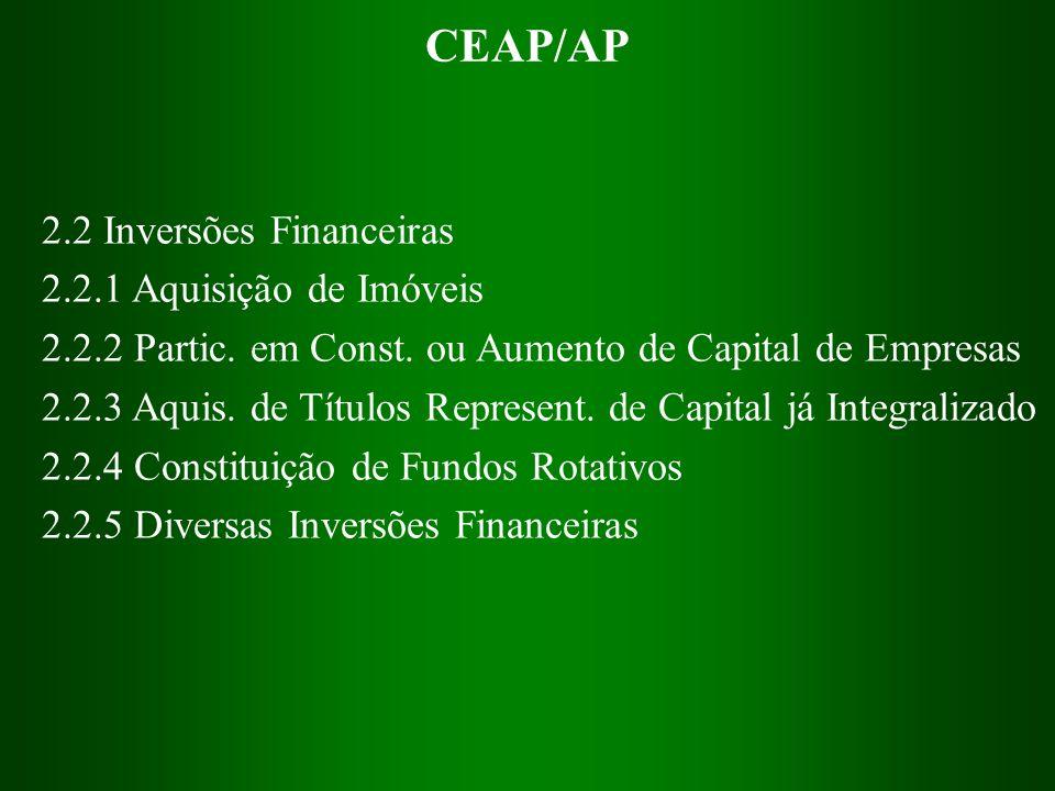 CEAP/AP 2.2 Inversões Financeiras 2.2.1 Aquisição de Imóveis 2.2.2 Partic. em Const. ou Aumento de Capital de Empresas 2.2.3 Aquis. de Títulos Represe