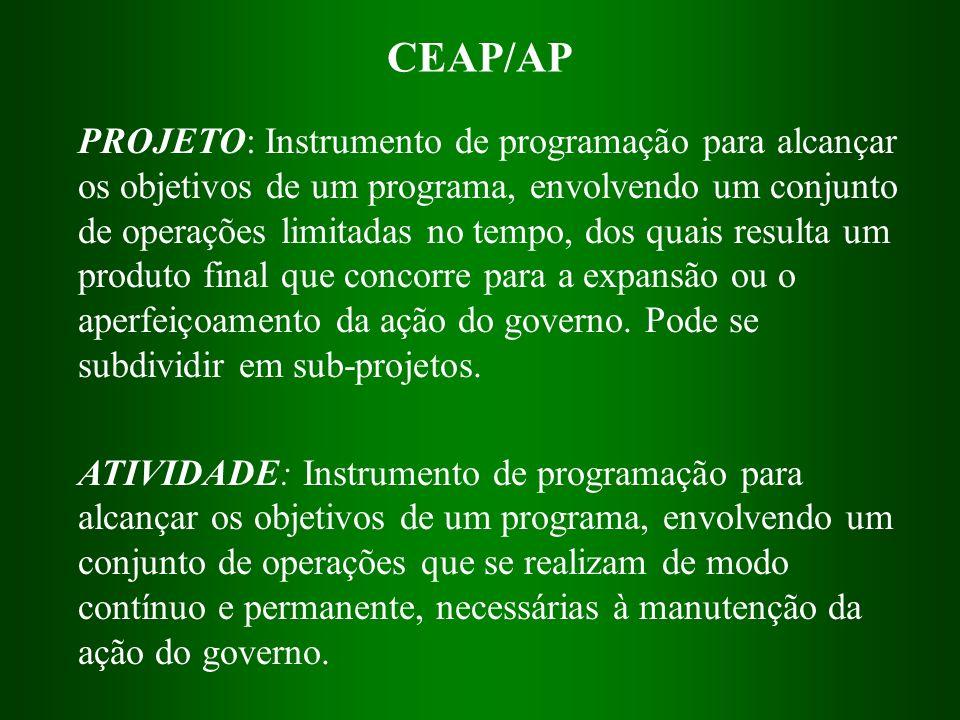 CEAP/AP PROJETO: Instrumento de programação para alcançar os objetivos de um programa, envolvendo um conjunto de operações limitadas no tempo, dos qua