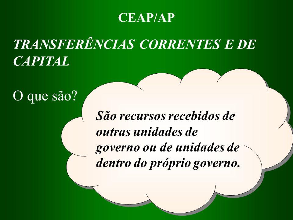 CEAP/AP São recursos recebidos de outras unidades de governo ou de unidades de dentro do próprio governo. TRANSFERÊNCIAS CORRENTES E DE CAPITAL O que