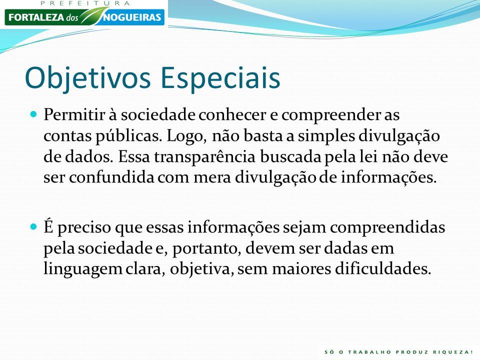 Objetivos Especiais Permitir à sociedade conhecer e compreender as contas públicas.