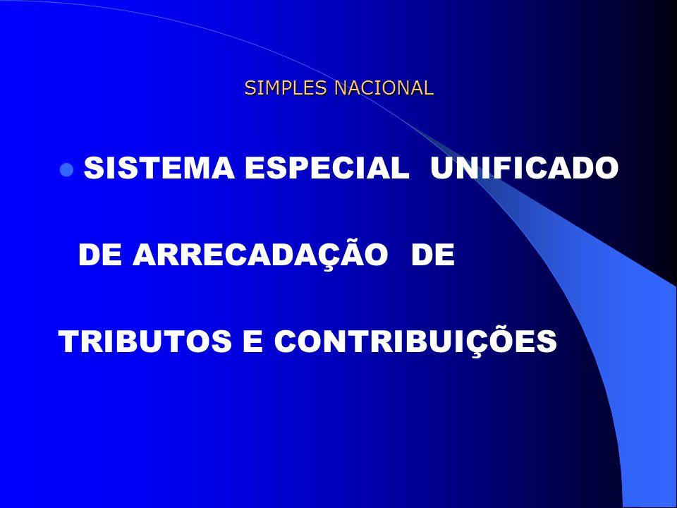 SIMPLES NACIONAL SISTEMA ESPECIAL UNIFICADO DE ARRECADAÇÃO DE TRIBUTOS E CONTRIBUIÇÕES