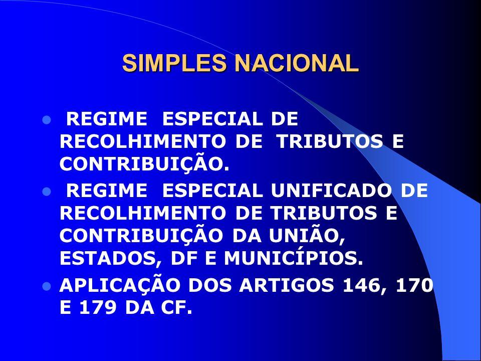 SIMPLES NACIONAL REGIME ESPECIAL DE RECOLHIMENTO DE TRIBUTOS E CONTRIBUIÇÃO. REGIME ESPECIAL UNIFICADO DE RECOLHIMENTO DE TRIBUTOS E CONTRIBUIÇÃO DA U