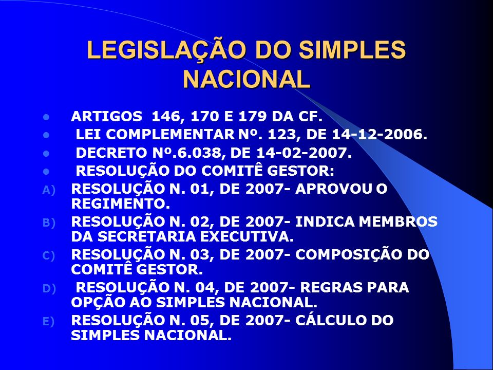 LEGISLAÇÃO DO SIMPLES NACIONAL ARTIGOS 146, 170 E 179 DA CF. LEI COMPLEMENTAR Nº. 123, DE 14-12-2006. DECRETO Nº.6.038, DE 14-02-2007. RESOLUÇÃO DO CO