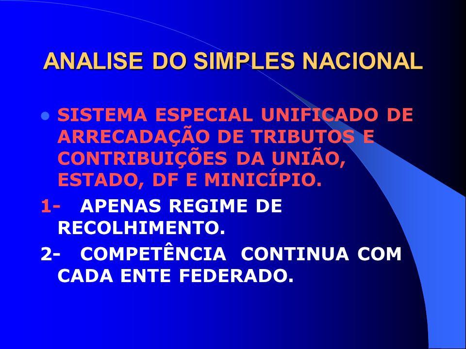 ANALISE DO SIMPLES NACIONAL SISTEMA ESPECIAL UNIFICADO DE ARRECADAÇÃO DE TRIBUTOS E CONTRIBUIÇÕES DA UNIÃO, ESTADO, DF E MINICÍPIO. 1- APENAS REGIME D
