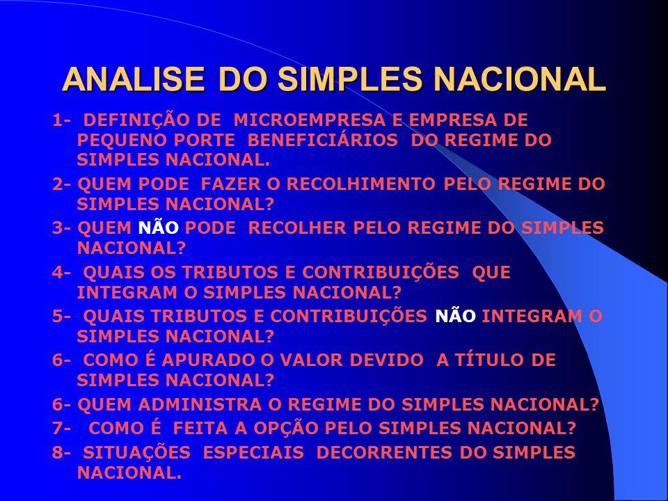 ANALISE DO SIMPLES NACIONAL 1- DEFINIÇÃO DE MICROEMPRESA E EMPRESA DE PEQUENO PORTE BENEFICIÁRIOS DO REGIME DO SIMPLES NACIONAL. 2- QUEM PODE FAZER O