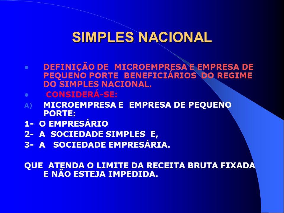 SIMPLES NACIONAL DEFINIÇÃO DE MICROEMPRESA E EMPRESA DE PEQUENO PORTE BENEFICIÁRIOS DO REGIME DO SIMPLES NACIONAL. CONSIDERÁ-SE: A) MICROEMPRESA E EMP