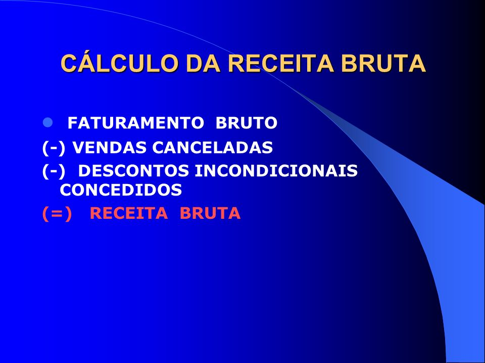 CÁLCULO DA RECEITA BRUTA FATURAMENTO BRUTO (-) VENDAS CANCELADAS (-) DESCONTOS INCONDICIONAIS CONCEDIDOS (=) RECEITA BRUTA
