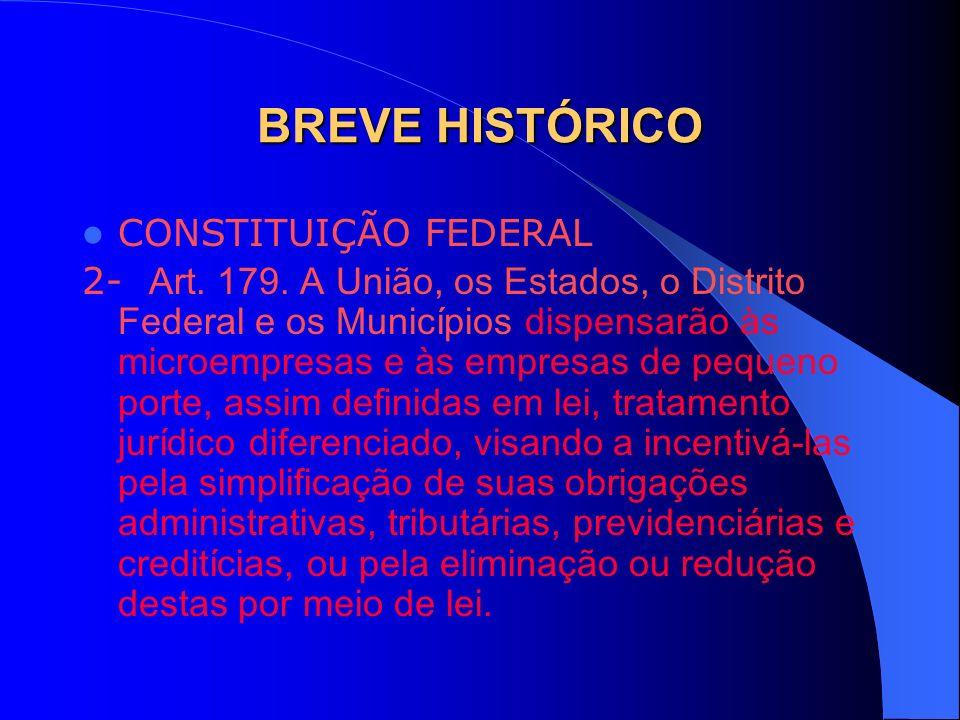 BREVE HISTÓRICO CONSTITUIÇÃO FEDERAL 2- Art. 179. A União, os Estados, o Distrito Federal e os Municípios dispensarão às microempresas e às empresas d