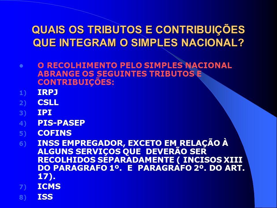 QUAIS OS TRIBUTOS E CONTRIBUIÇÕES QUE INTEGRAM O SIMPLES NACIONAL? O RECOLHIMENTO PELO SIMPLES NACIONAL ABRANGE OS SEGUINTES TRIBUTOS E CONTRIBUIÇÕES: