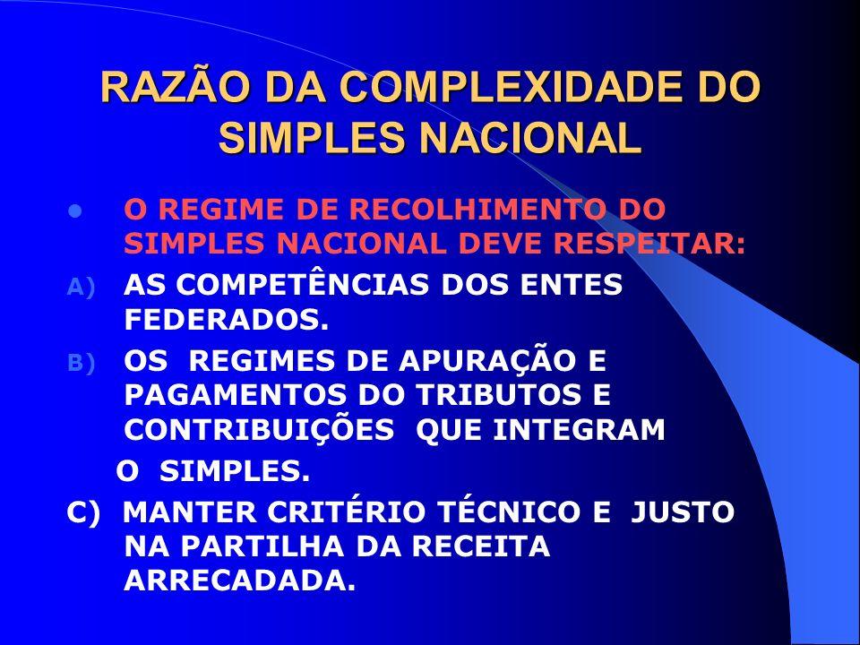 RAZÃO DA COMPLEXIDADE DO SIMPLES NACIONAL O REGIME DE RECOLHIMENTO DO SIMPLES NACIONAL DEVE RESPEITAR: A) AS COMPETÊNCIAS DOS ENTES FEDERADOS. B) OS R