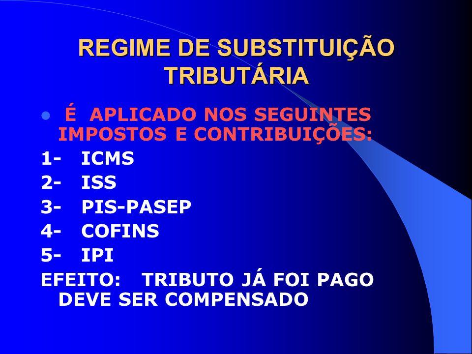 REGIME DE SUBSTITUIÇÃO TRIBUTÁRIA É APLICADO NOS SEGUINTES IMPOSTOS E CONTRIBUIÇÕES: 1- ICMS 2- ISS 3- PIS-PASEP 4- COFINS 5- IPI EFEITO: TRIBUTO JÁ F