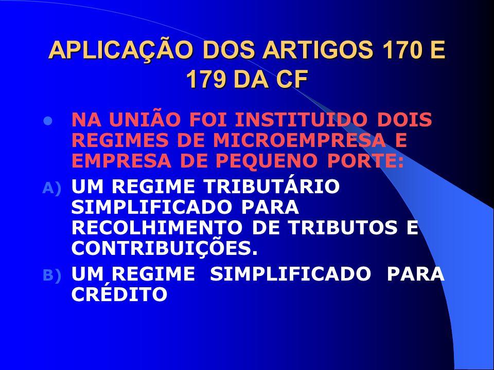 APLICAÇÃO DOS ARTIGOS 170 E 179 DA CF NA UNIÃO FOI INSTITUIDO DOIS REGIMES DE MICROEMPRESA E EMPRESA DE PEQUENO PORTE: A) UM REGIME TRIBUTÁRIO SIMPLIF